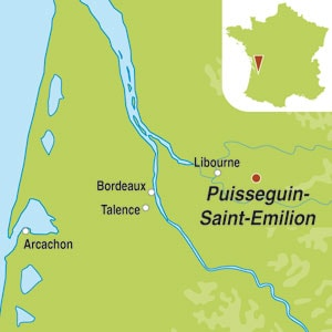 Map showing Puisseguin Saint-Emilion AOC