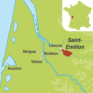 Map showing Saint-Emilion Grand Cru AOC