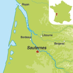 Map showing Sauternes AOC 1er Grand Cru Classe
