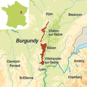 Map showing Bourgogne Aligoté AOC