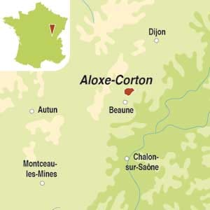 Map showing Aloxe-Corton Premier Cru AOC