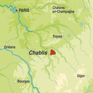 Map showing Chablis Grand Cru AOC