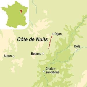 Map showing Bourgogne Hautes-Cotes de Nuits AOC