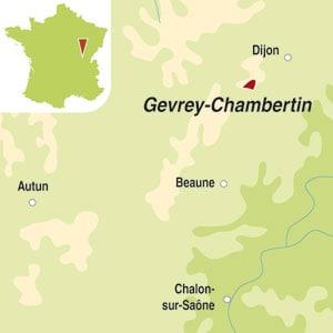 Map showing Gevrey-Chambertin AOC