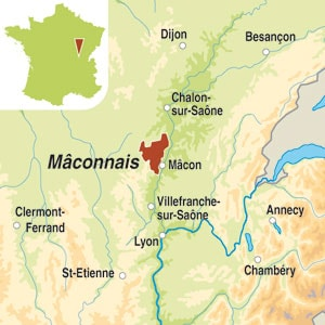 Map showing Bourgogne AOC