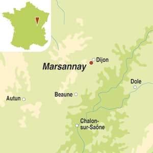 Map showing Marsannay AOC