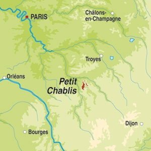 Map showing Petit Chablis AOC