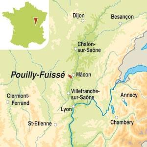 Map showing Pouilly-Fuissé AOP