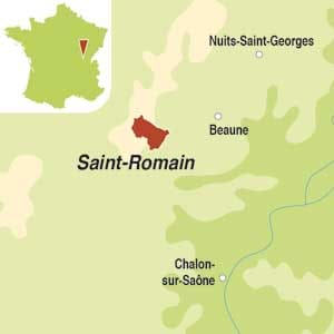 Map showing Saint-Romain AOC