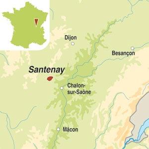 Map showing Santenay AOP
