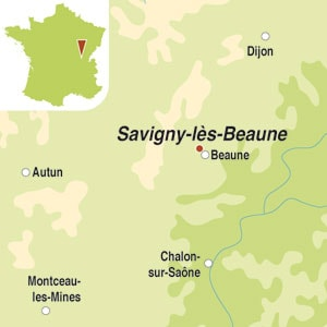 Map showing Savigny-les-Beaune Premier Cru AOC