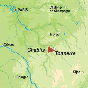 Map showing Bourgogne Tonnerre AOC