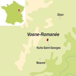 Map showing Vosne-Romanee AOC