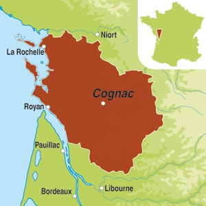 Map showing Cognac AOC