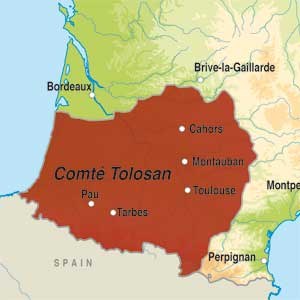 Map showing Comté Tolosan IGP