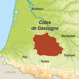 Map showing Cotes de Gascogne IGP