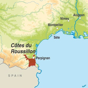 Map showing Côtes du Roussillon-Villages AOP