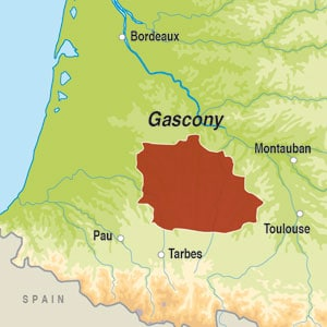 Map showing Cotes de Gascogne VdP