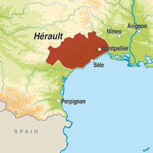 Map showing Pays d'Herault IGP