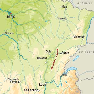 Map showing Jura AOC