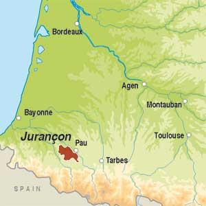 Map showing Jurançon AOC