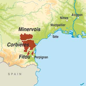 Map showing Languedoc AOP