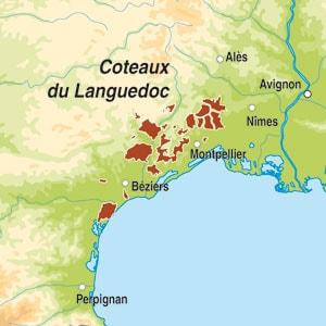 Map showing Coteaux du Languedoc AOC