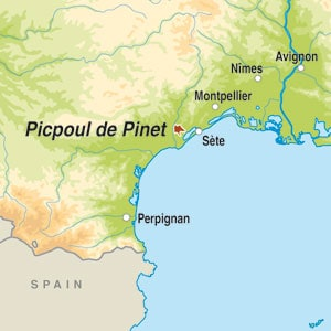 Map showing Picpoul de Pinet AOP