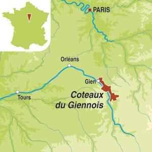 Map showing Coteaux du Giennois AOC