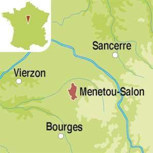 Map showing Menetou-Salon AOC