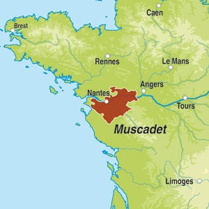 Map showing Muscadet Sevre et Maine sur lie AOC