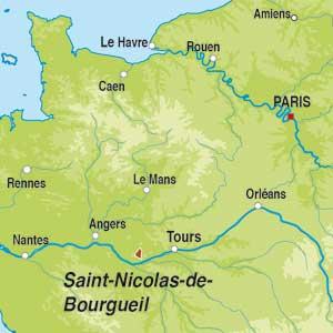 Map showing Saint-Nicolas-de-Bourgueil AOC