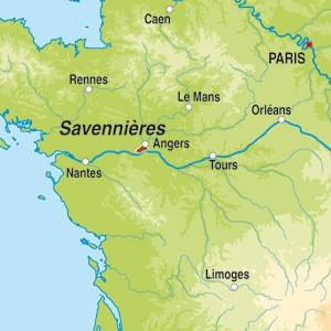 Map showing Savennières AOP