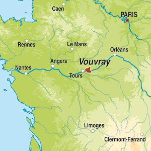 Map showing Vouvray AOC