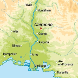 Map showing Cairanne AOP