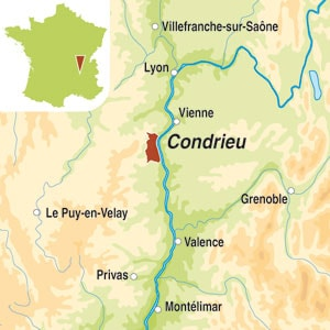 Map showing Condrieu AOC