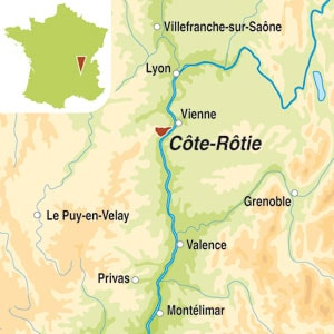 Map showing Cote-Rotie AOC