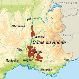 Map showing Cotes du Rhone AOC