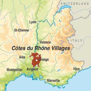 Map showing Cotes du Rhone-Villages AOC Seguret