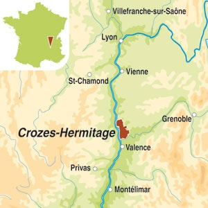 Map showing Crozes-Hermitage AOC