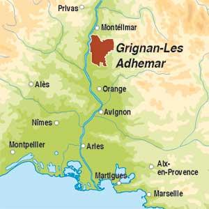 Map showing  Grignan-les-Adhémar AOC