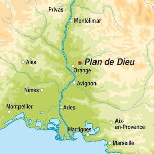 Map showing Cotes du Rhone-Villages AOC