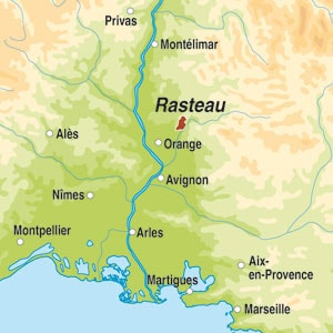 Map showing Rasteau AOP