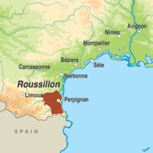 Map showing Cotes du Roussillon-Villages AOC