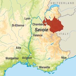 Map showing Vin de Savoie AOP