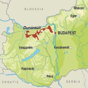 Map showing Dunántúli