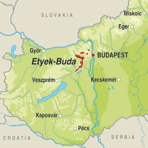 Map showing Etyek Buda