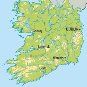 Map showing Ireland