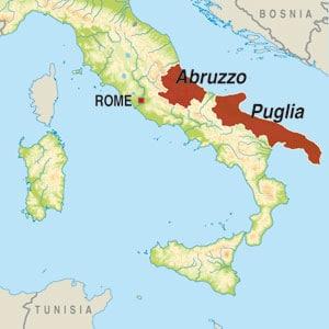 Map showing Vino da Tavola