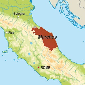 Map showing Verdicchio di Matelica DOC